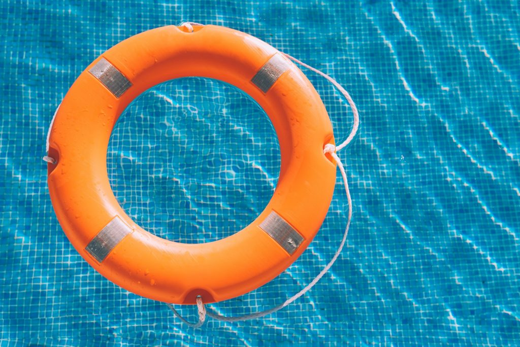 Lifesaver in the swimming pool
